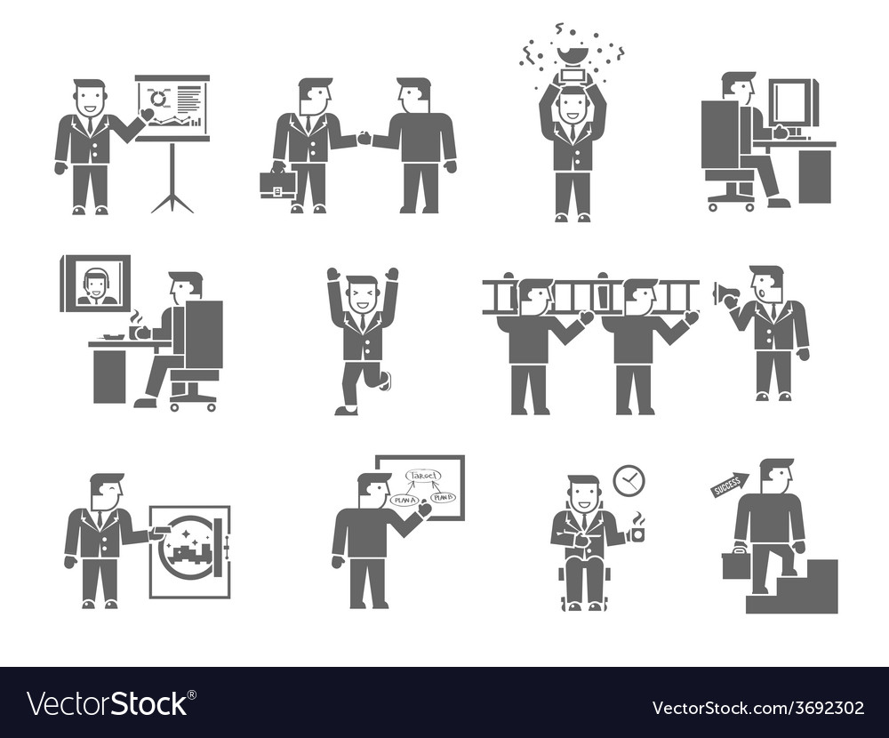 Businessman working black vector | Price: 1 Credit (USD $1)