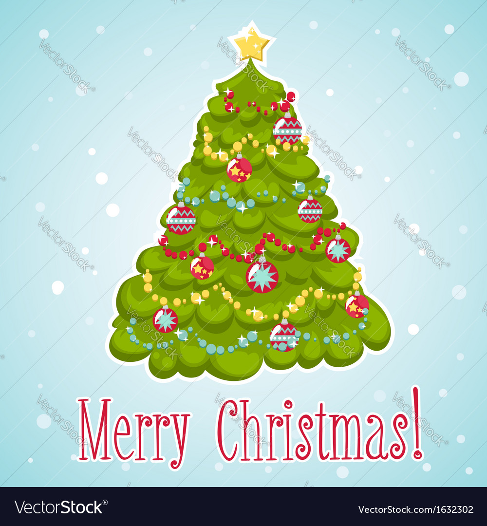 Cartoon christmas tree decorated with xmas toys vector | Price: 1 Credit (USD $1)