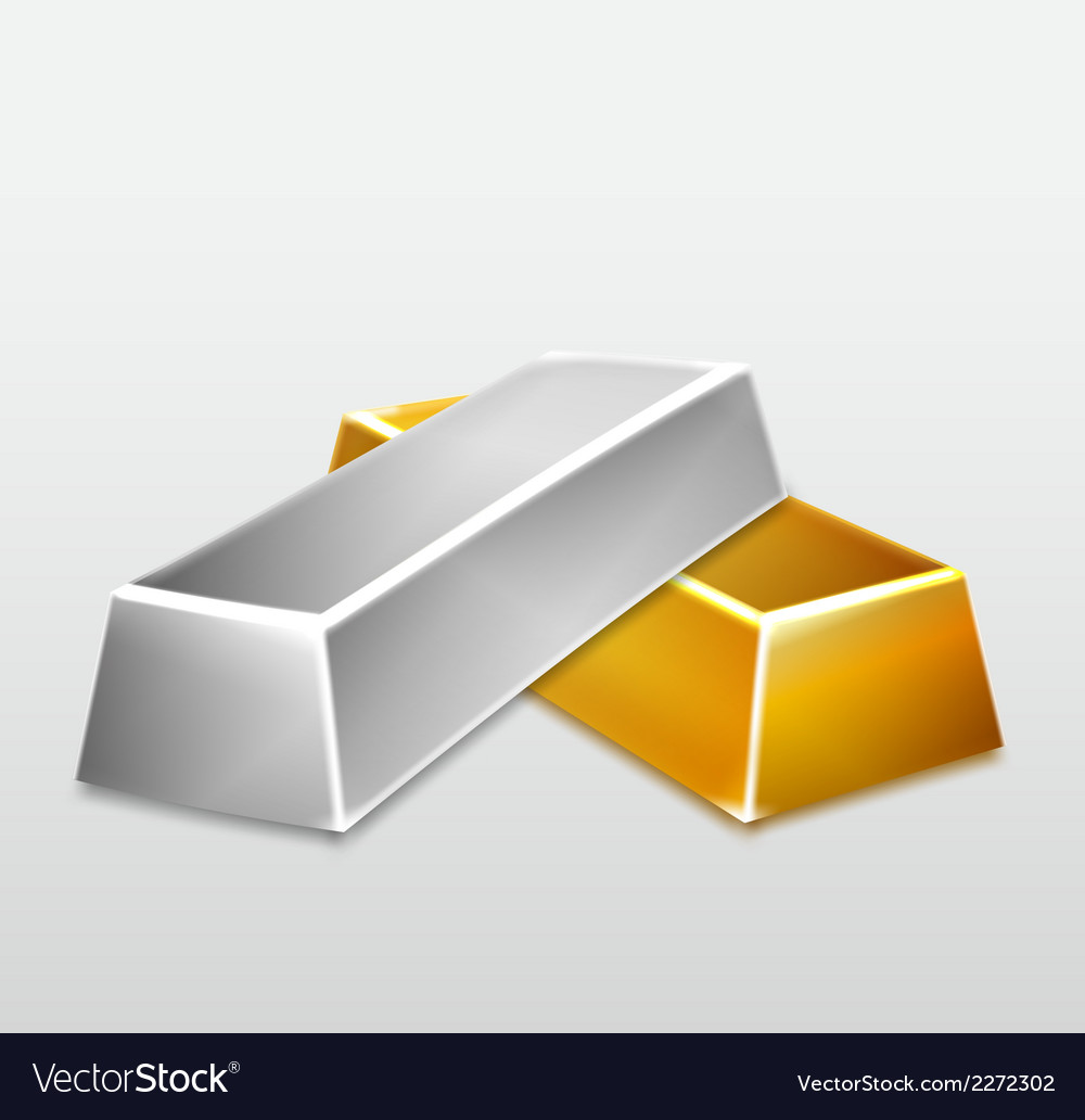 Golden and silver bars on white background vector | Price: 1 Credit (USD $1)