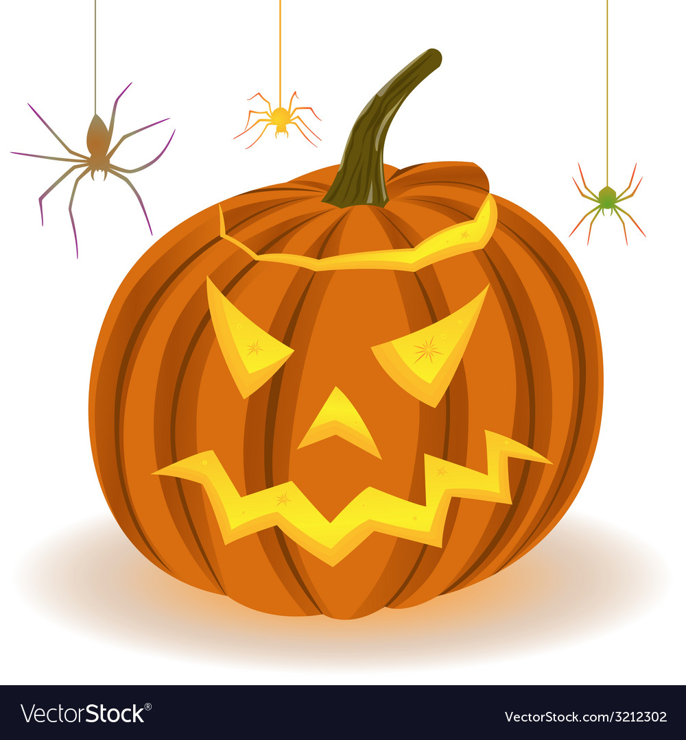 Halloween pumpkin and spiders on the web vector | Price: 1 Credit (USD $1)