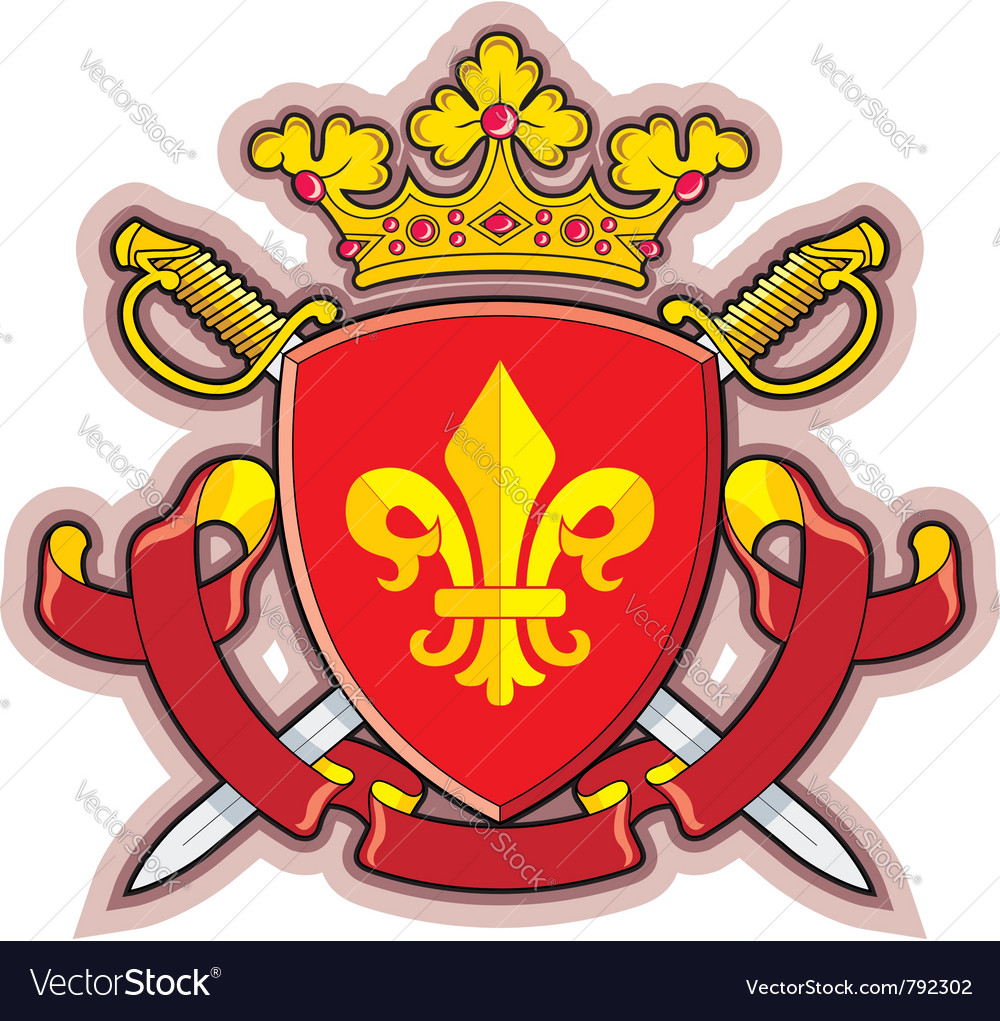 Heraldic shield ribbons crown and sword vector | Price: 1 Credit (USD $1)