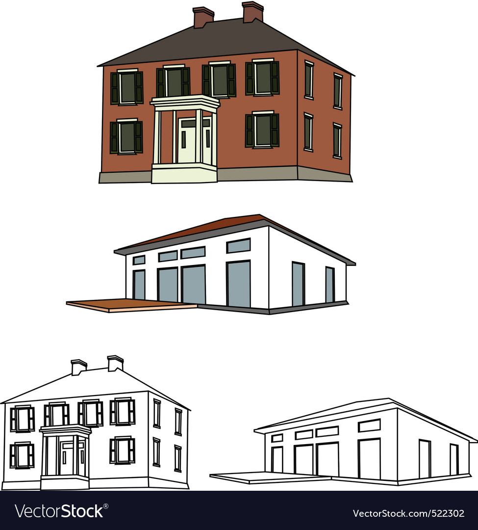 House sketch set 01 vector | Price: 1 Credit (USD $1)