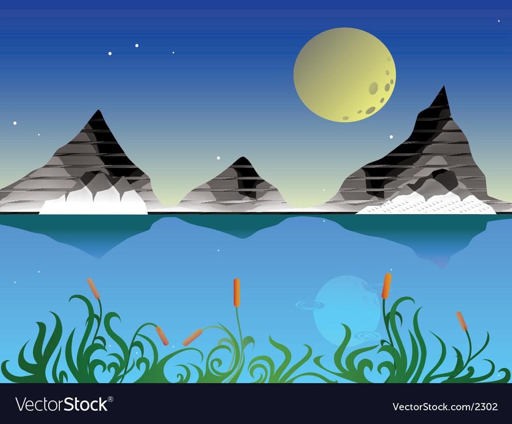 Landscape at night vector   Price: 1 Credit (USD $1)