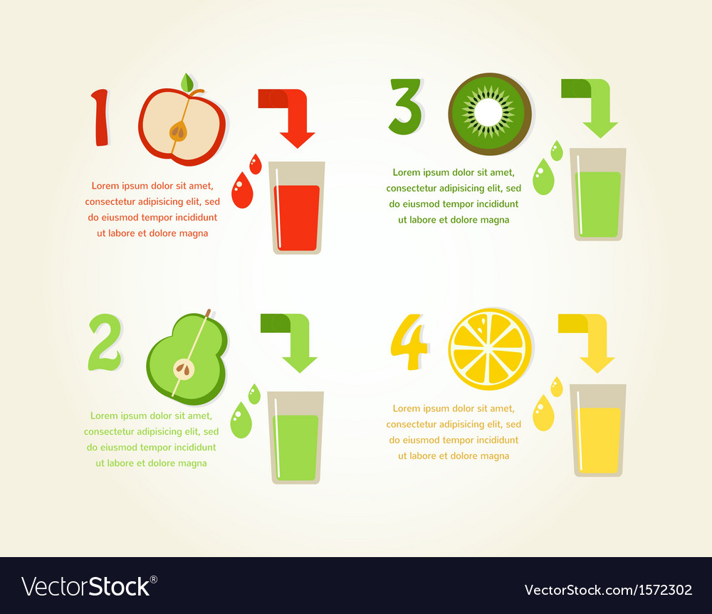 Preparation of healthy fruit juices infographics vector | Price: 1 Credit (USD $1)
