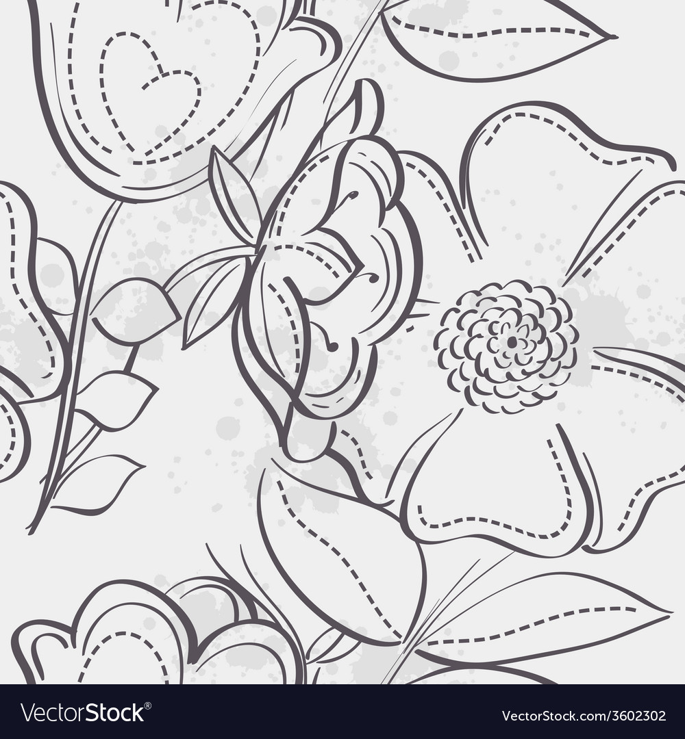 Seamless texture of meadow flowers black contour vector | Price: 1 Credit (USD $1)