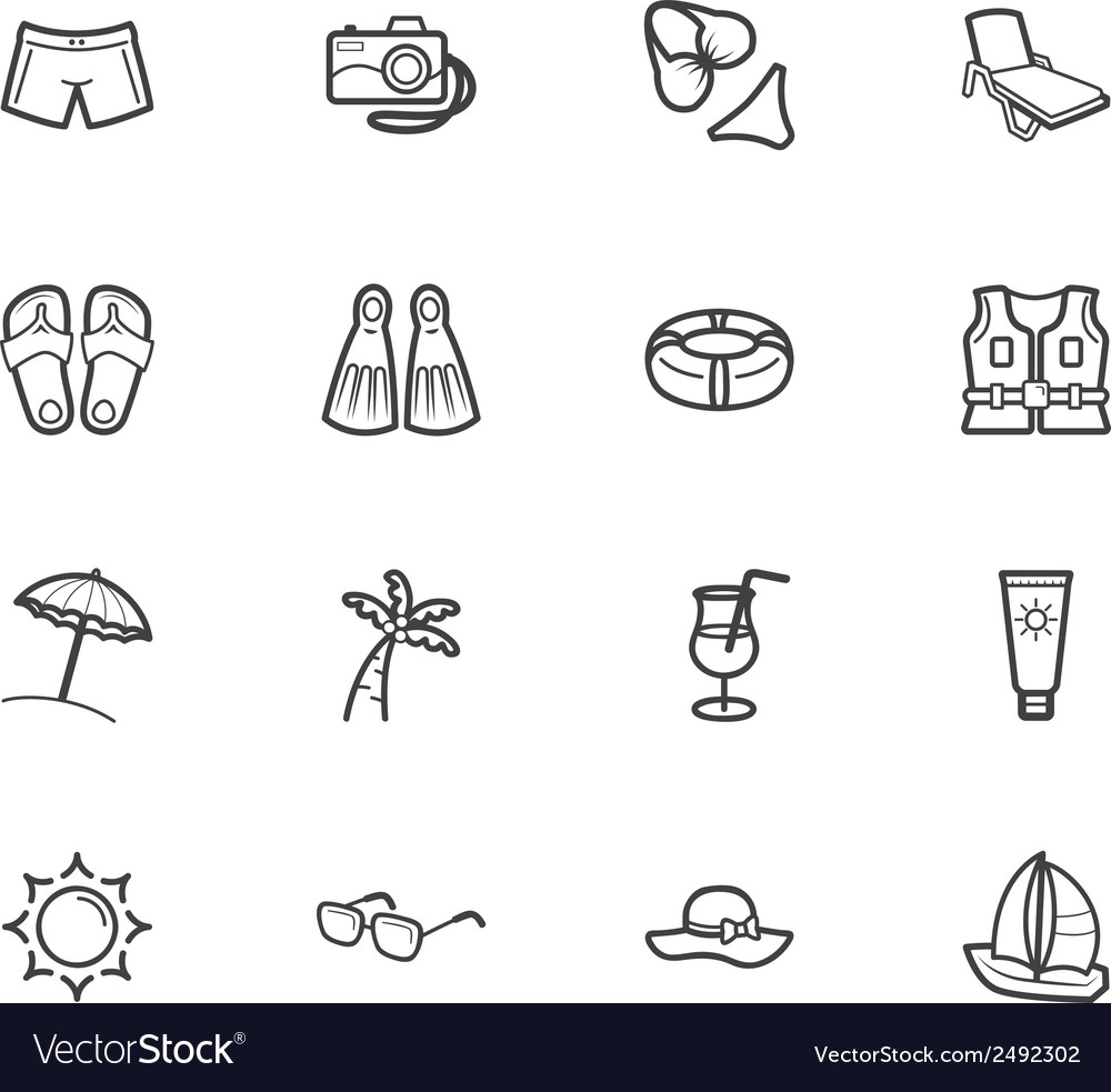 Summer travel element black icon set on white bg vector | Price: 1 Credit (USD $1)