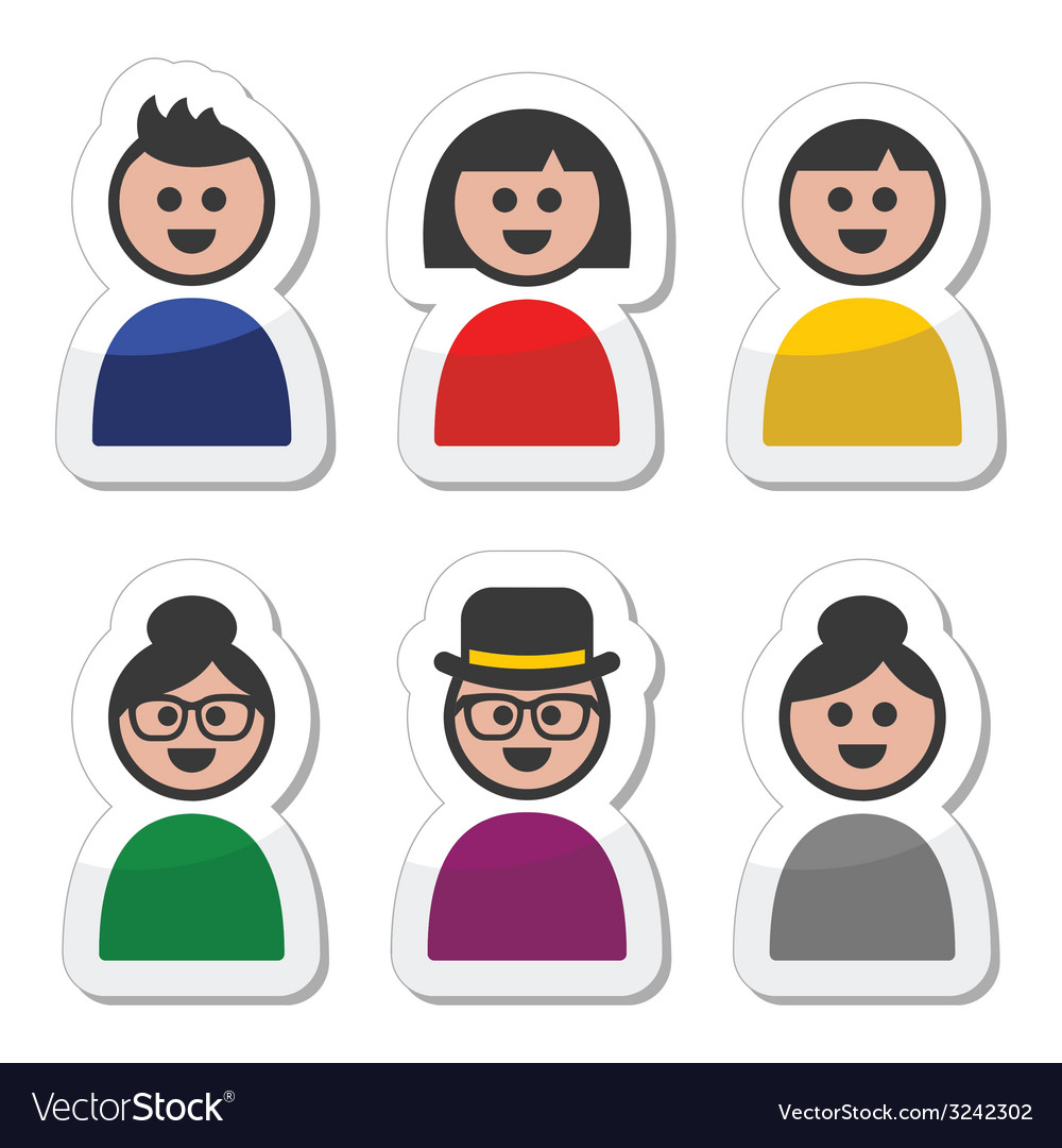 User young and old people icons set vector | Price: 1 Credit (USD $1)