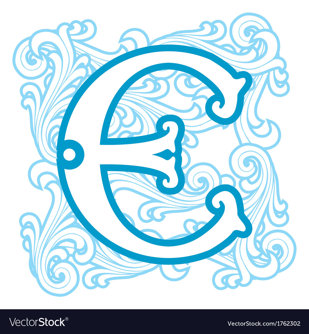 Winter vintage letter e vector | Price: 1 Credit (USD $1)