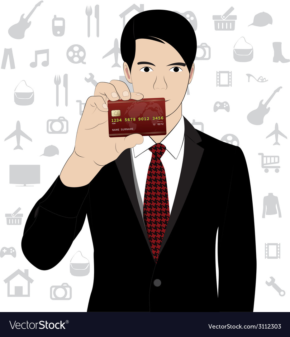 Business man hold credit card vector | Price: 1 Credit (USD $1)