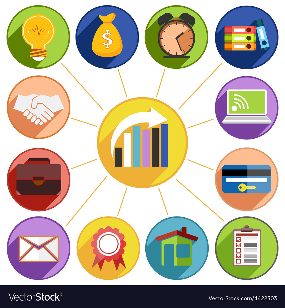 Business management and data analytics icon set vector   Price: 1 Credit (USD $1)