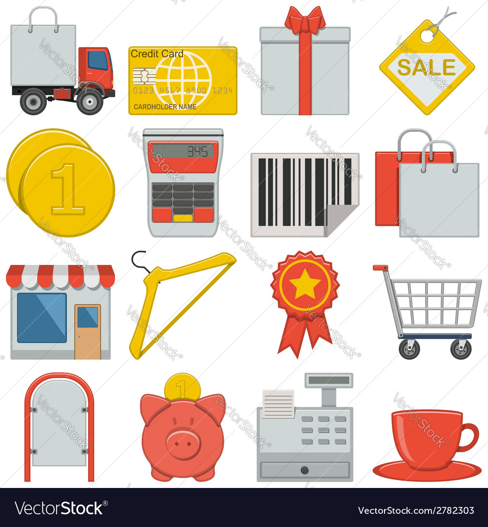 Flat icons retail vector | Price: 1 Credit (USD $1)