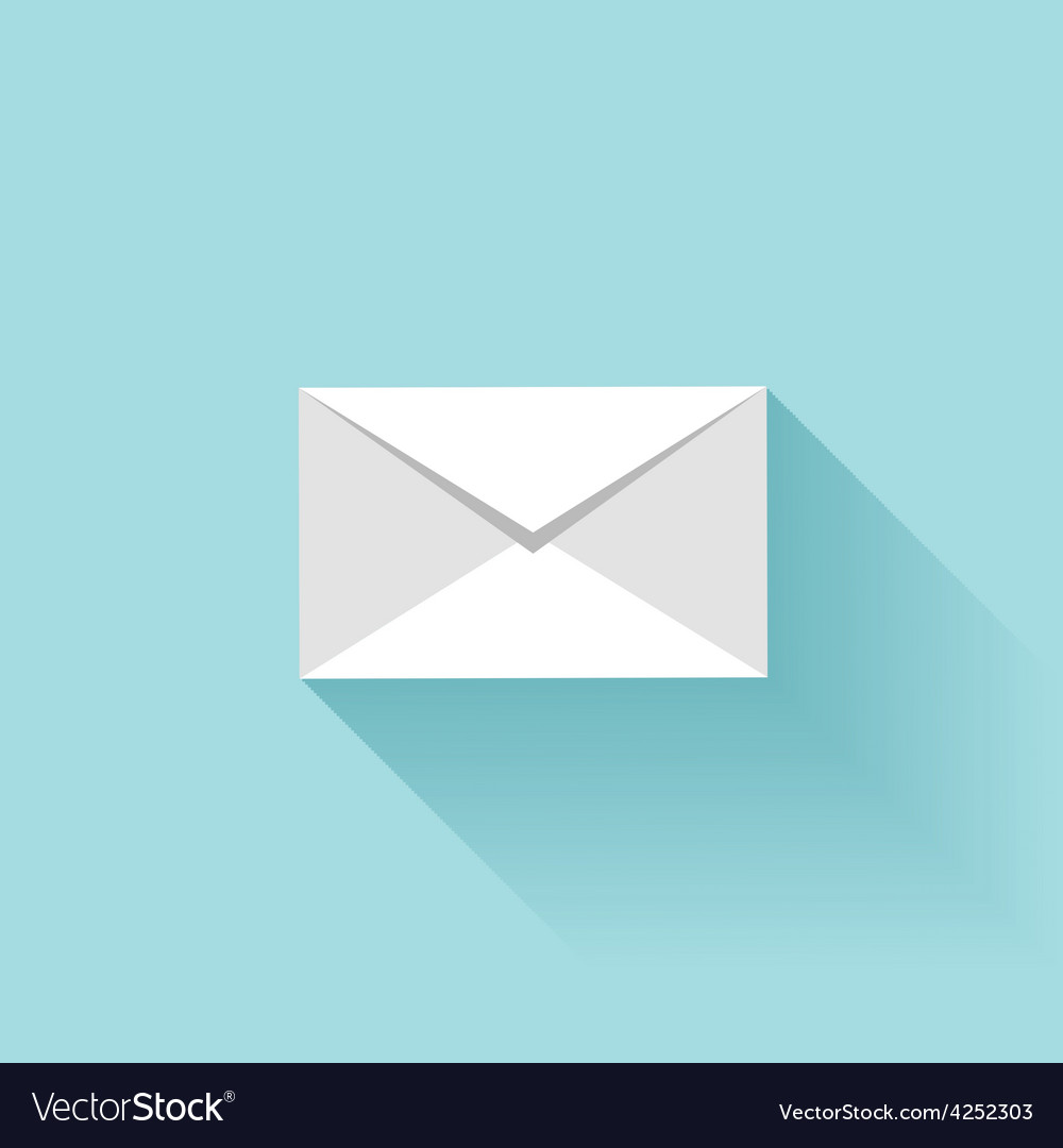 Flat letter icon with shadow sms or email symbol vector | Price: 1 Credit (USD $1)