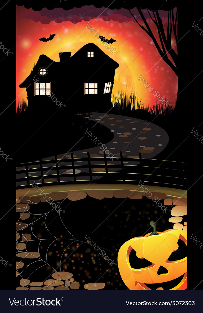 Halloween night scene vector | Price: 1 Credit (USD $1)