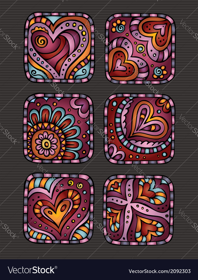 Hand-drawn decorative valentines day hearts icons vector | Price: 1 Credit (USD $1)