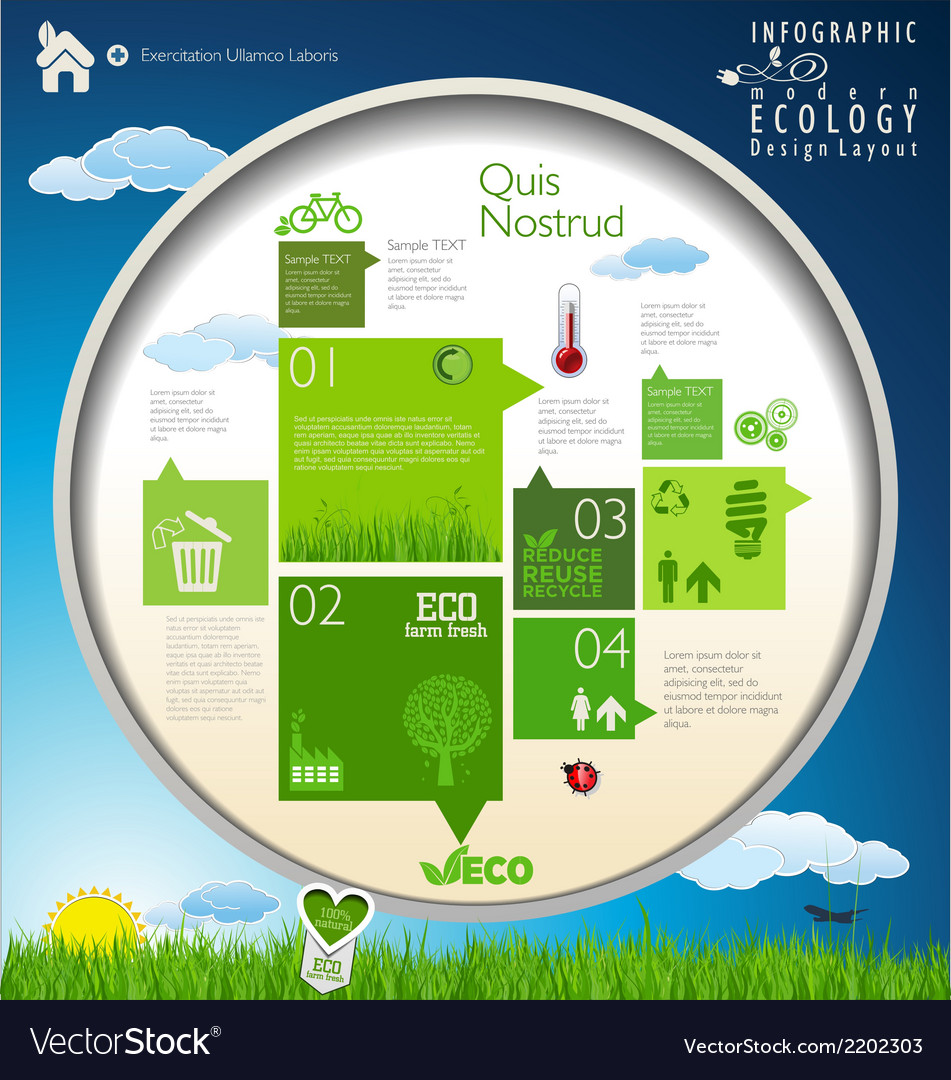 Modern ecology blue and green infographic design vector | Price: 1 Credit (USD $1)
