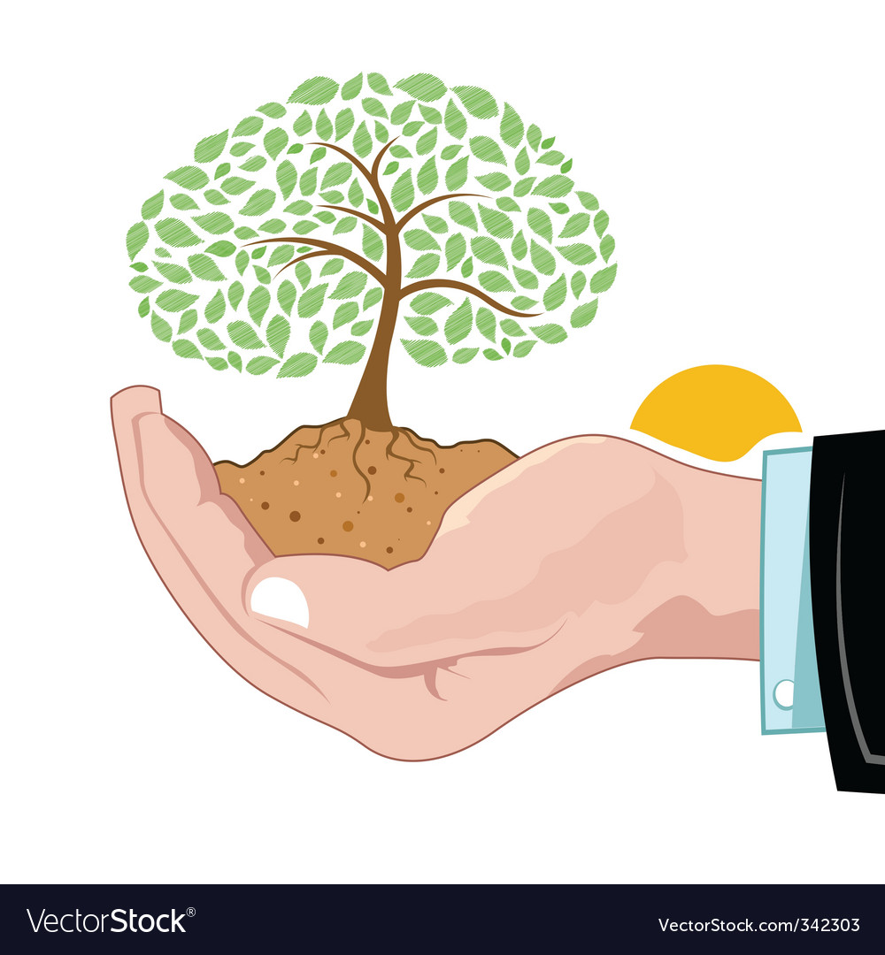 Natural tree growing on hand vector | Price: 1 Credit (USD $1)