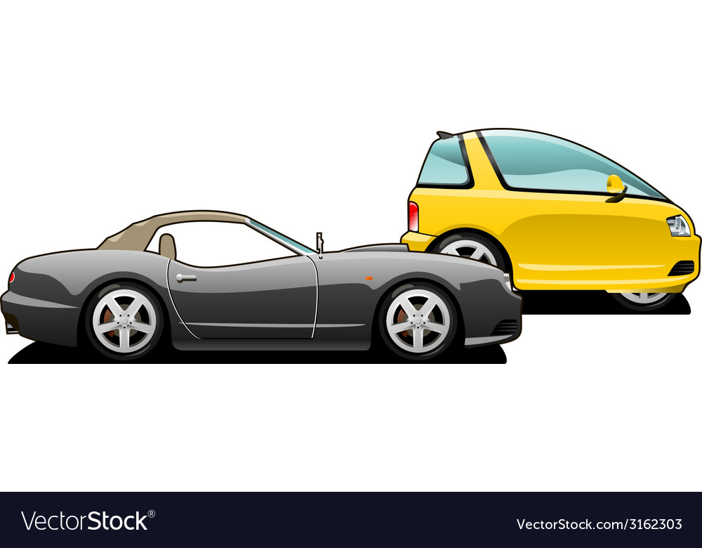 Sports car and tiny car vector | Price: 1 Credit (USD $1)