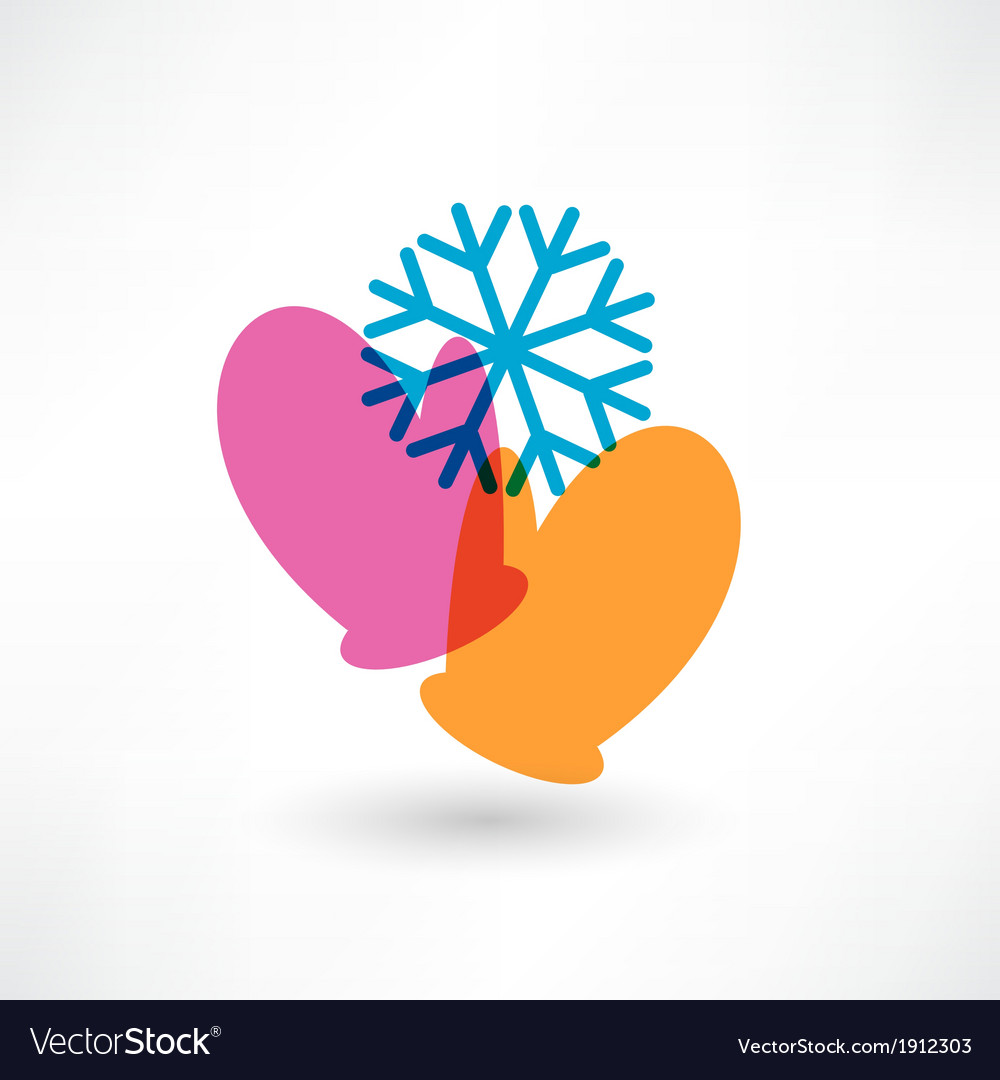 Two colored mittens and a snowflake vector | Price: 1 Credit (USD $1)