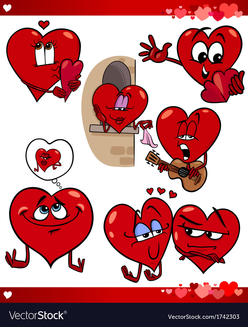 Valentine cartoon love set vector | Price: 1 Credit (USD $1)