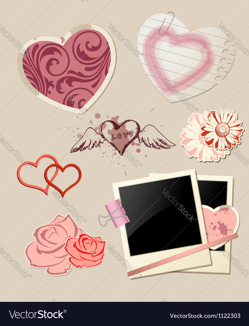 Valentines day scrapbook vector | Price: 1 Credit (USD $1)
