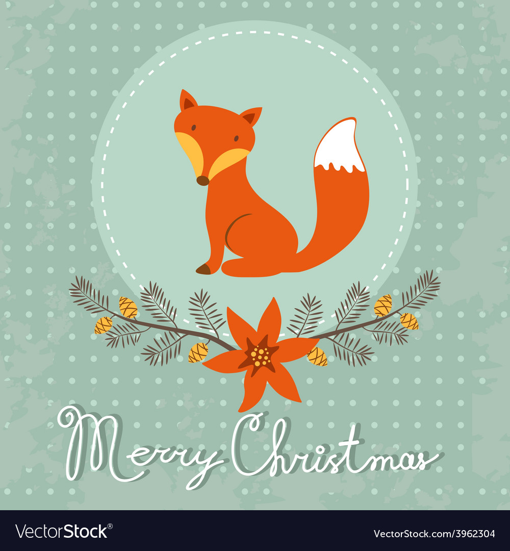 Elegant merry christmas card with cute fox vector | Price: 1 Credit (USD $1)