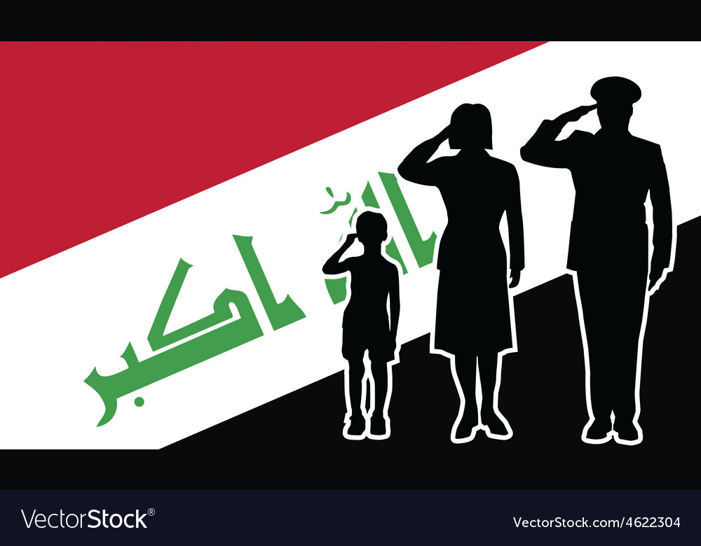 Iraq soldier family salute vector | Price: 1 Credit (USD $1)