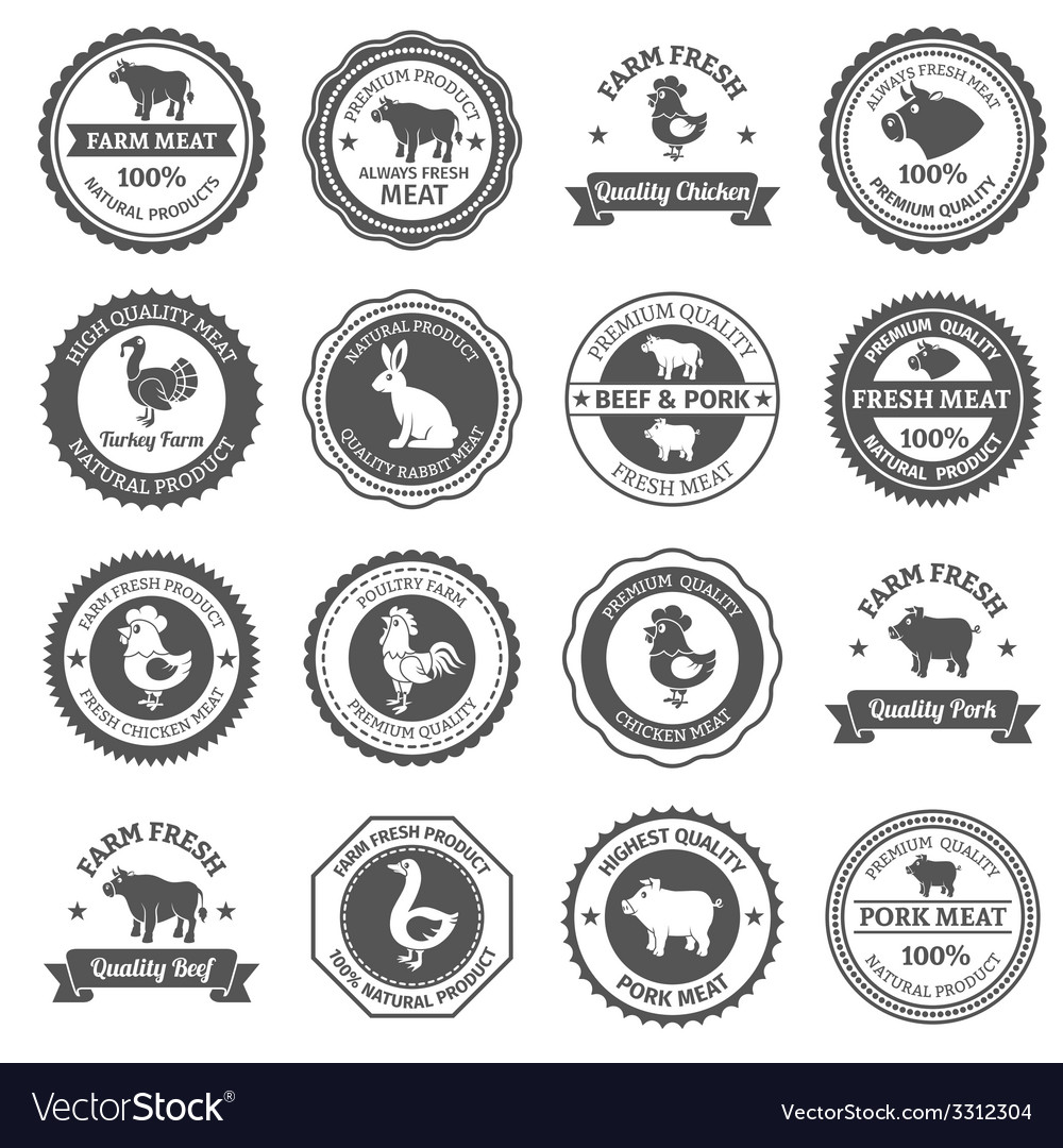 Meat labels set vector | Price: 1 Credit (USD $1)