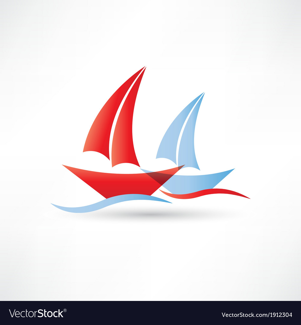 Sailboats in the sea icon vector | Price: 1 Credit (USD $1)