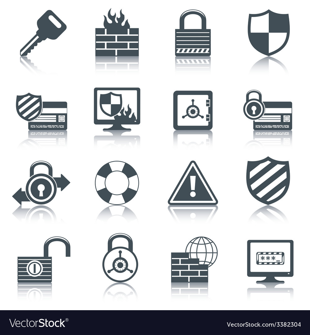Security icons set black vector | Price: 1 Credit (USD $1)