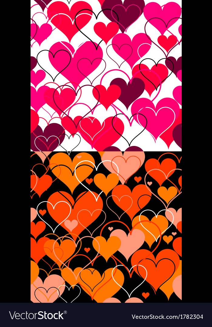 Set hearts pink seamless backgrounds vector | Price: 1 Credit (USD $1)