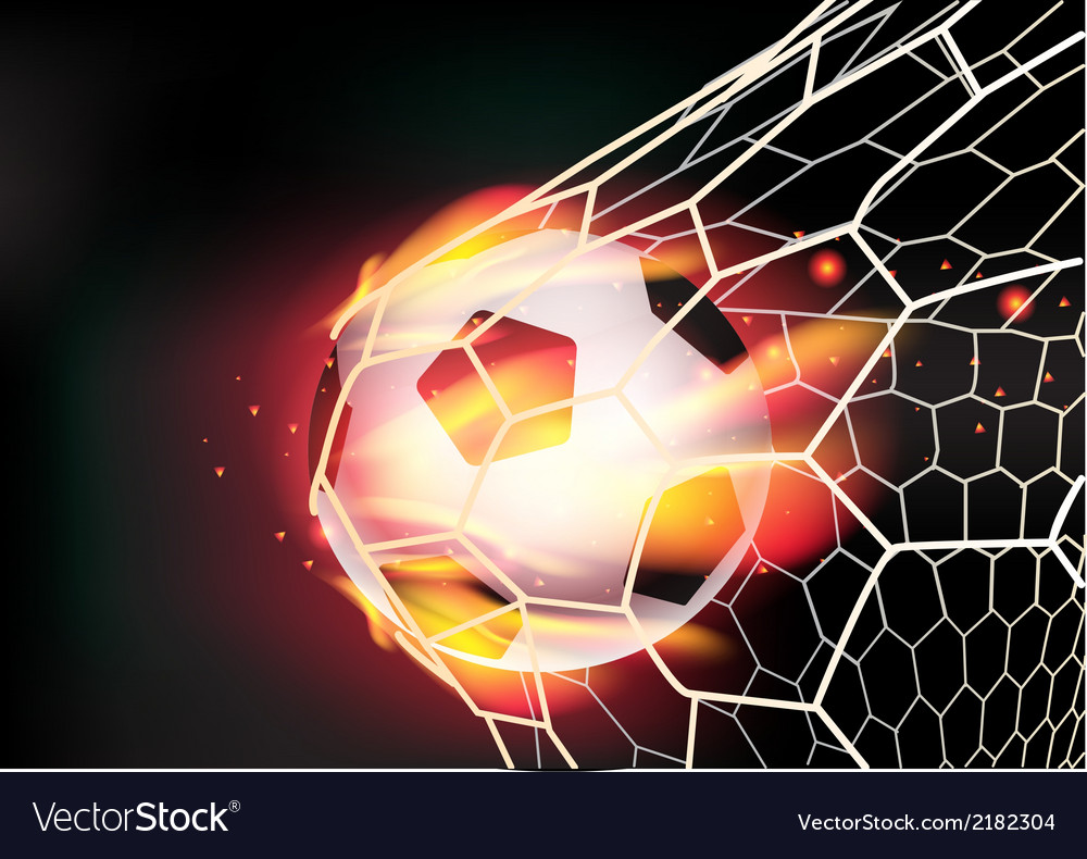 Soccer ball in goal net on fire flames vector | Price: 1 Credit (USD $1)