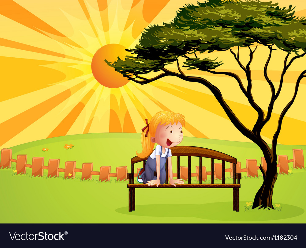 Sunshine park bench girl vector | Price: 1 Credit (USD $1)