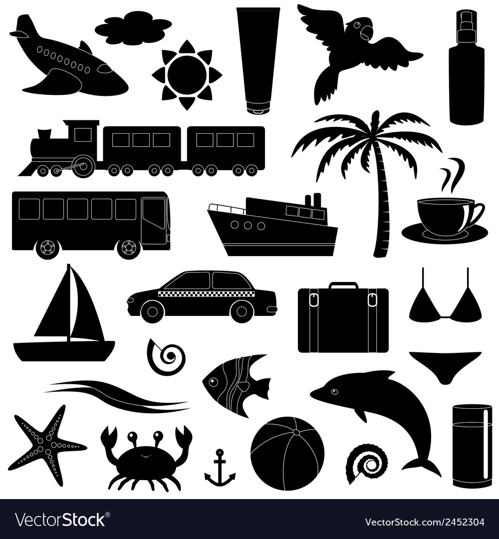 Travel and vacation silhouette icon set vector | Price: 1 Credit (USD $1)