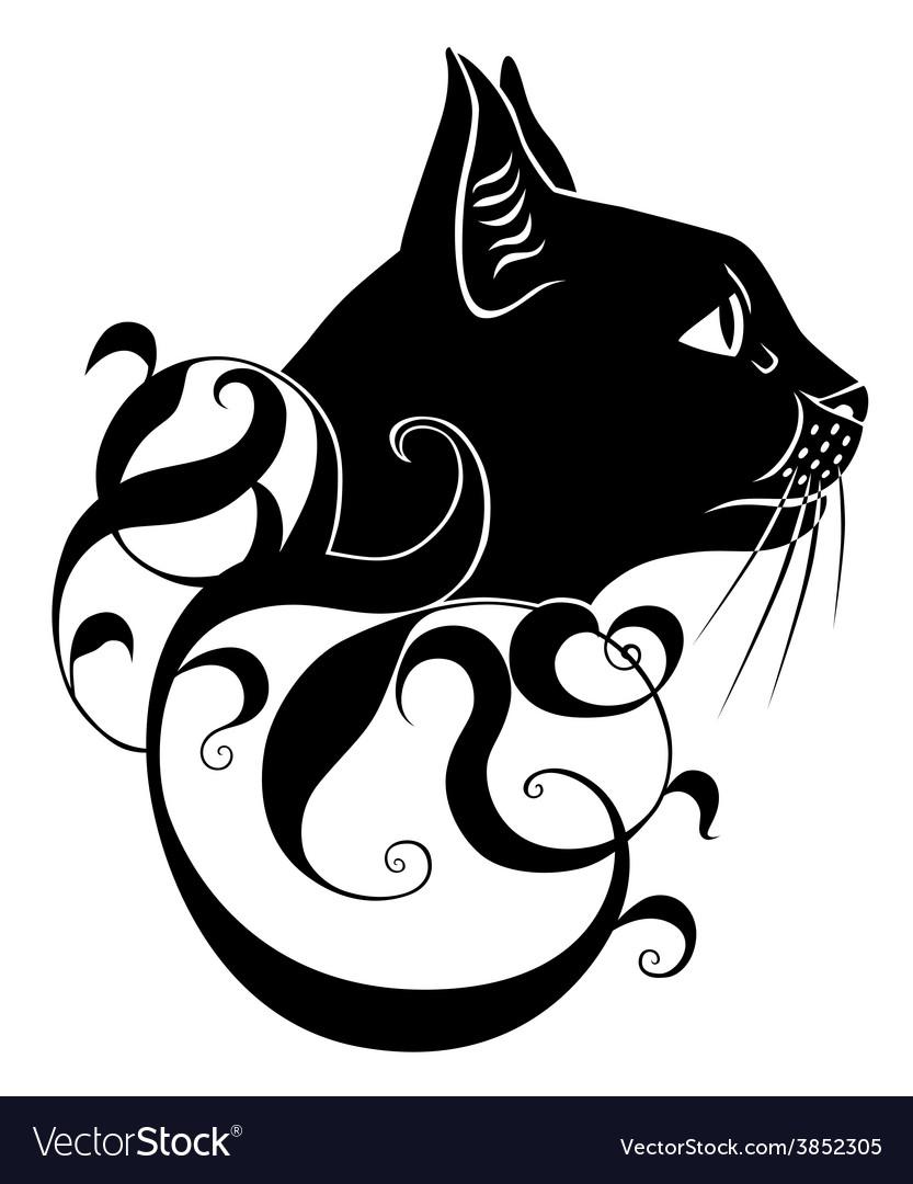 Black cat decoration vector | Price: 1 Credit (USD $1)