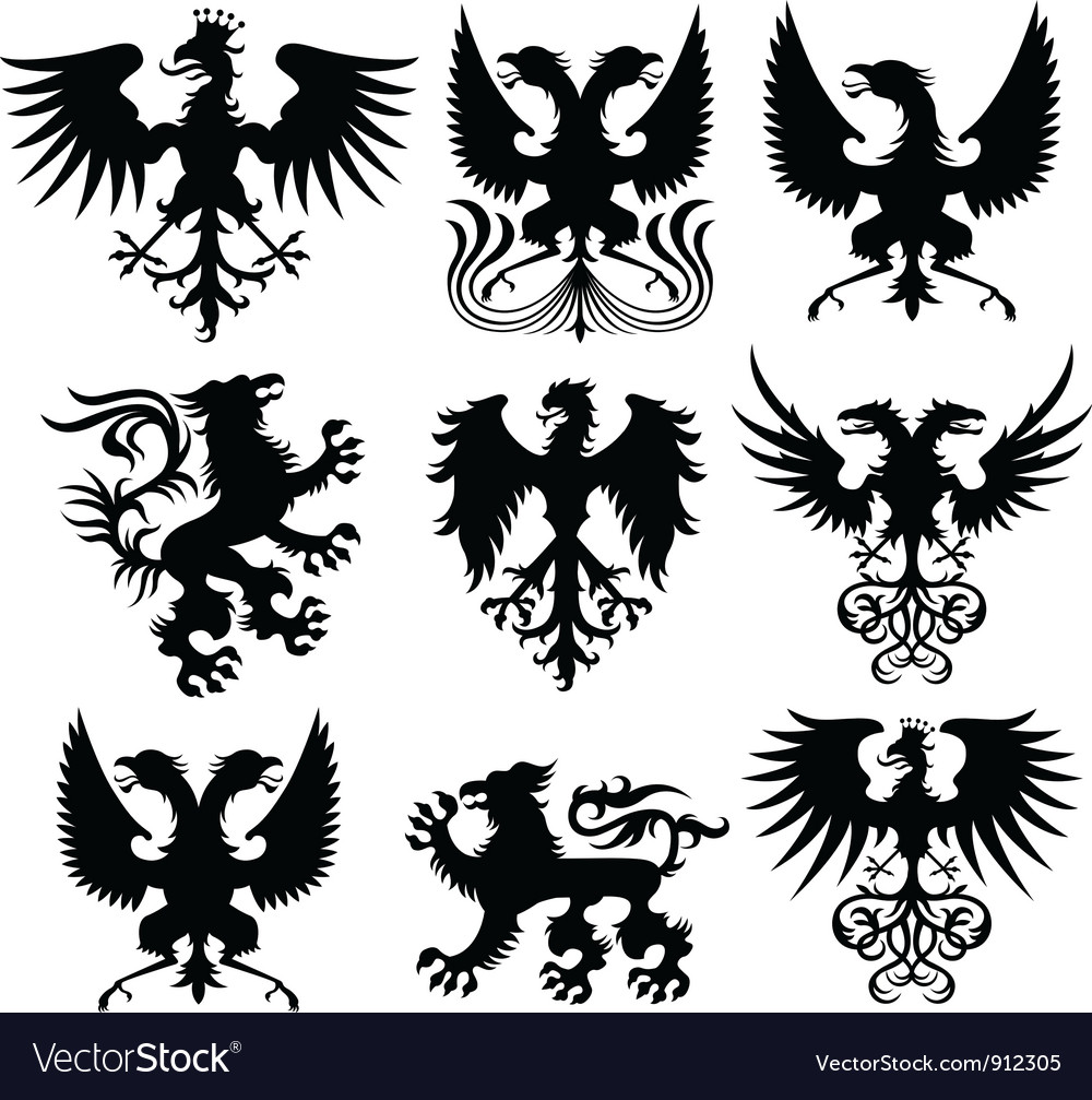 Griffin and eagle set vector | Price: 1 Credit (USD $1)