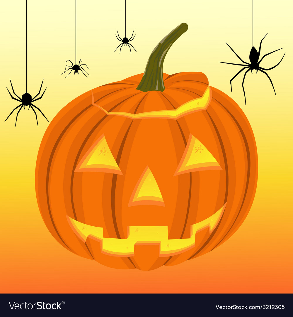 Halloween pumpkin and black spiders on the web vector | Price: 1 Credit (USD $1)