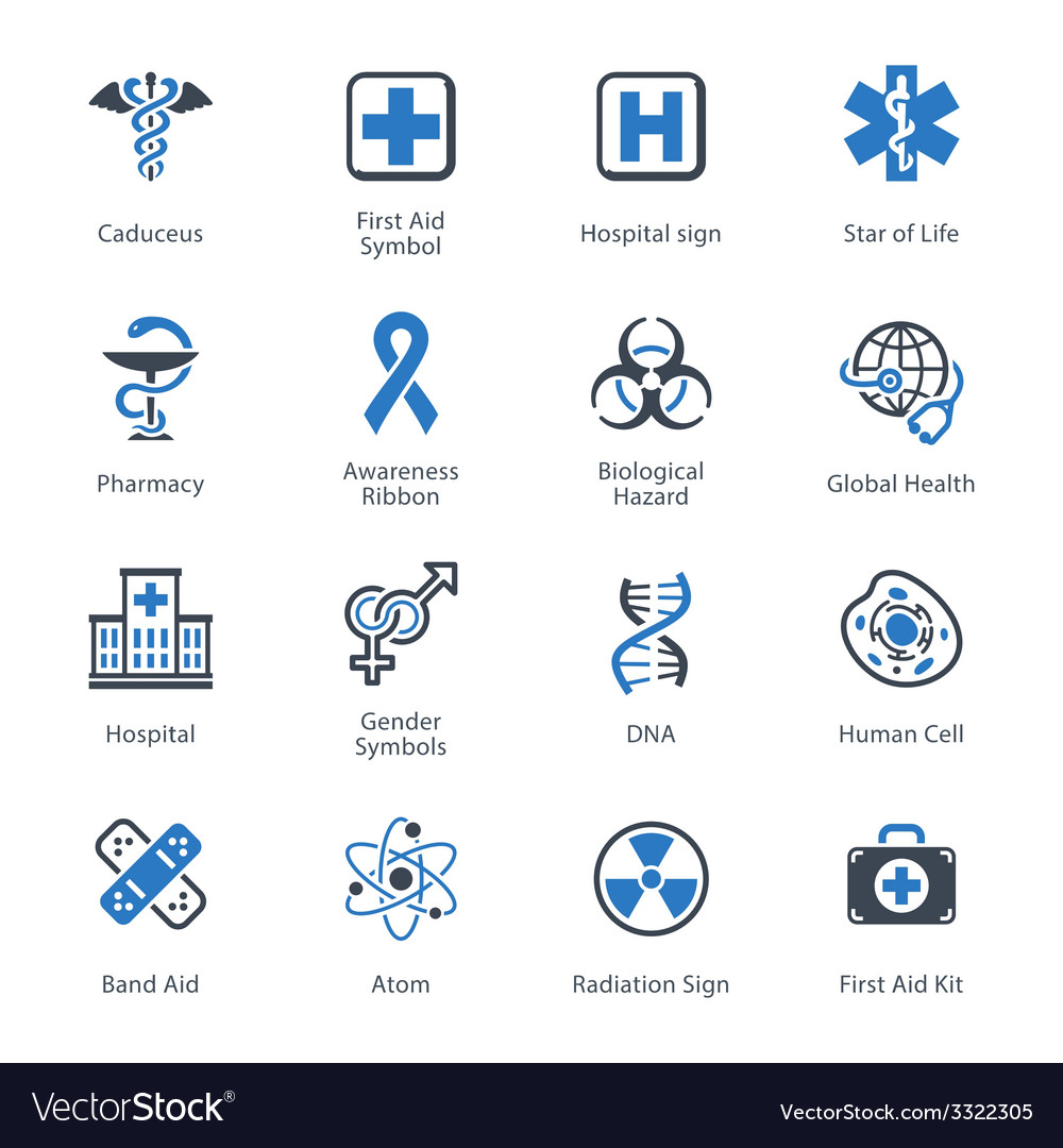 Medical and health care icons set 1 - blue series vector | Price: 1 Credit (USD $1)