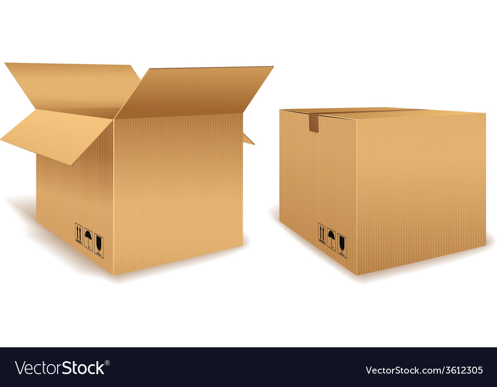 Open and closed cardboard box vector | Price: 1 Credit (USD $1)