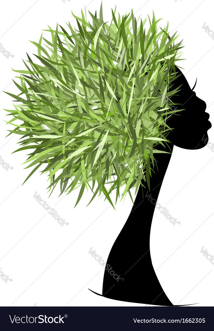 Organic hair care concept female head for your vector | Price: 1 Credit (USD $1)