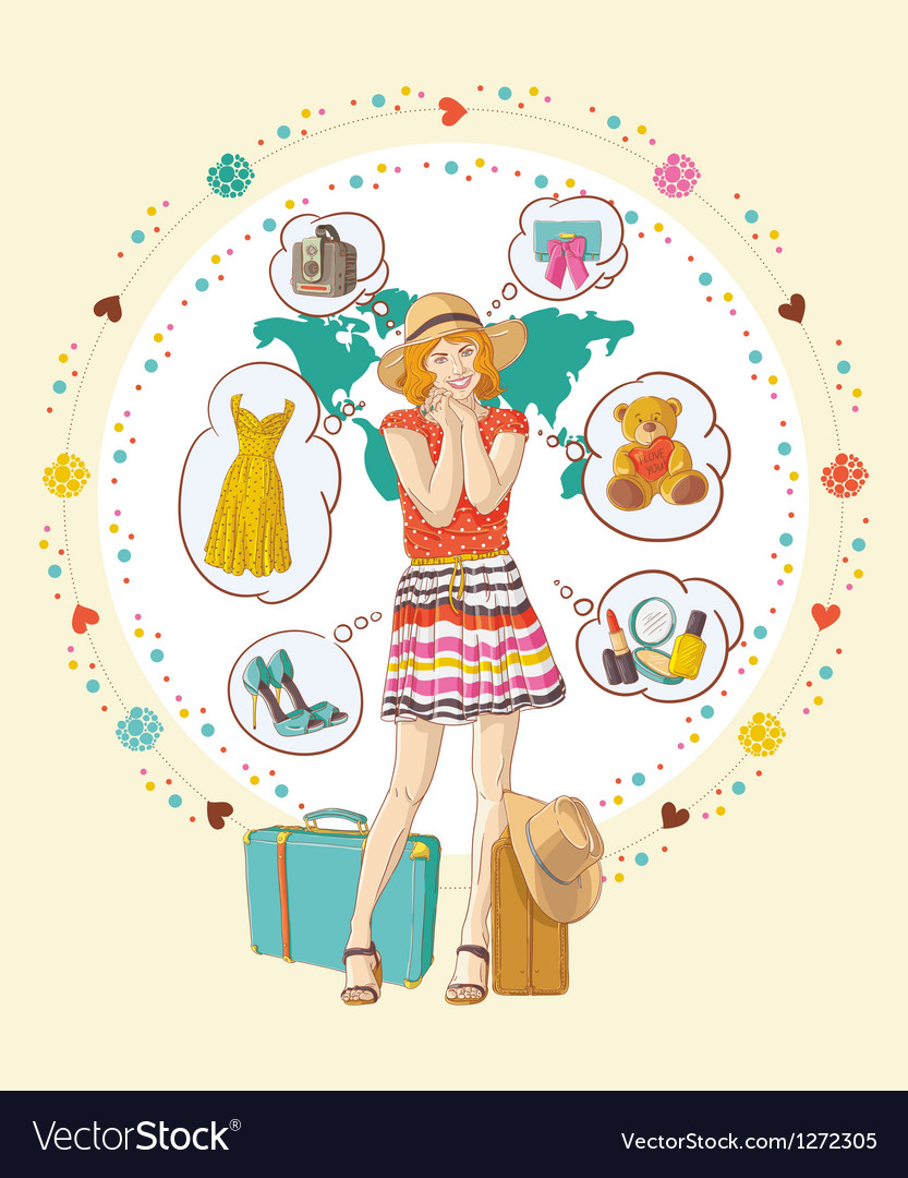 Pretty girl with banners was thinking about buying vector | Price: 1 Credit (USD $1)