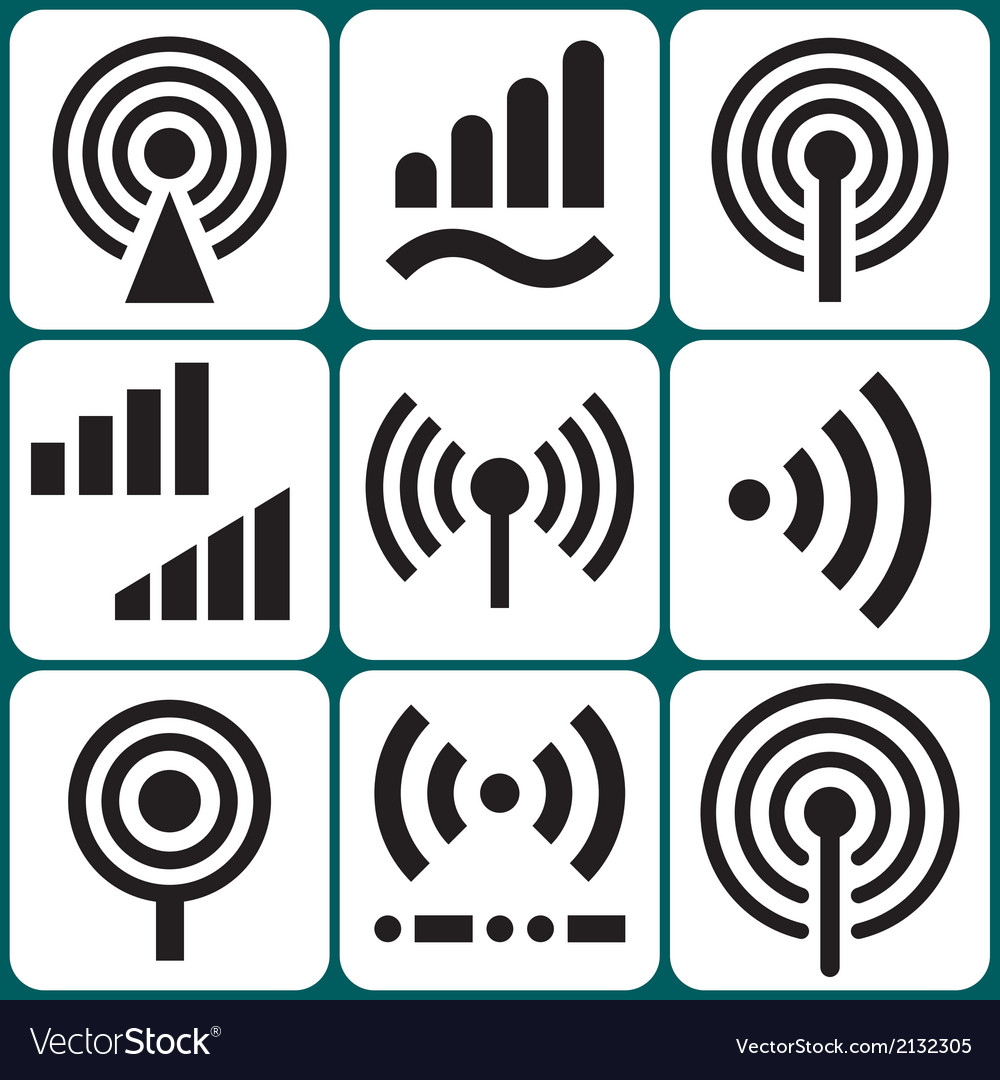 Signal icons set vector | Price: 1 Credit (USD $1)