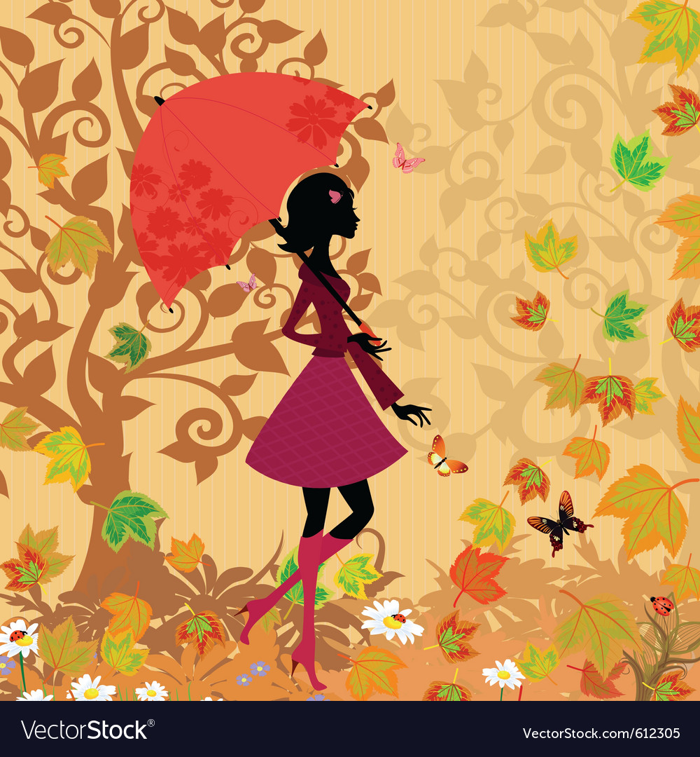 Woman under an umbrella in the autumn vector | Price: 1 Credit (USD $1)