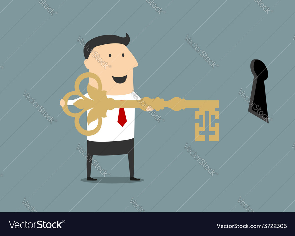 Cartoon businessman with golden key of success vector | Price: 1 Credit (USD $1)