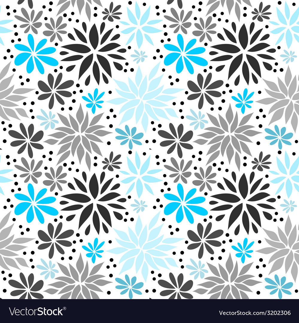 Cute blue seamless floral background vector | Price: 1 Credit (USD $1)