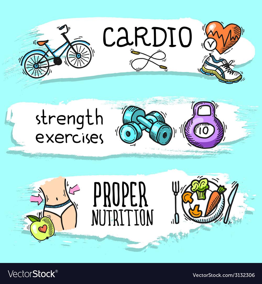 Fitness sketch banner set vector | Price: 1 Credit (USD $1)