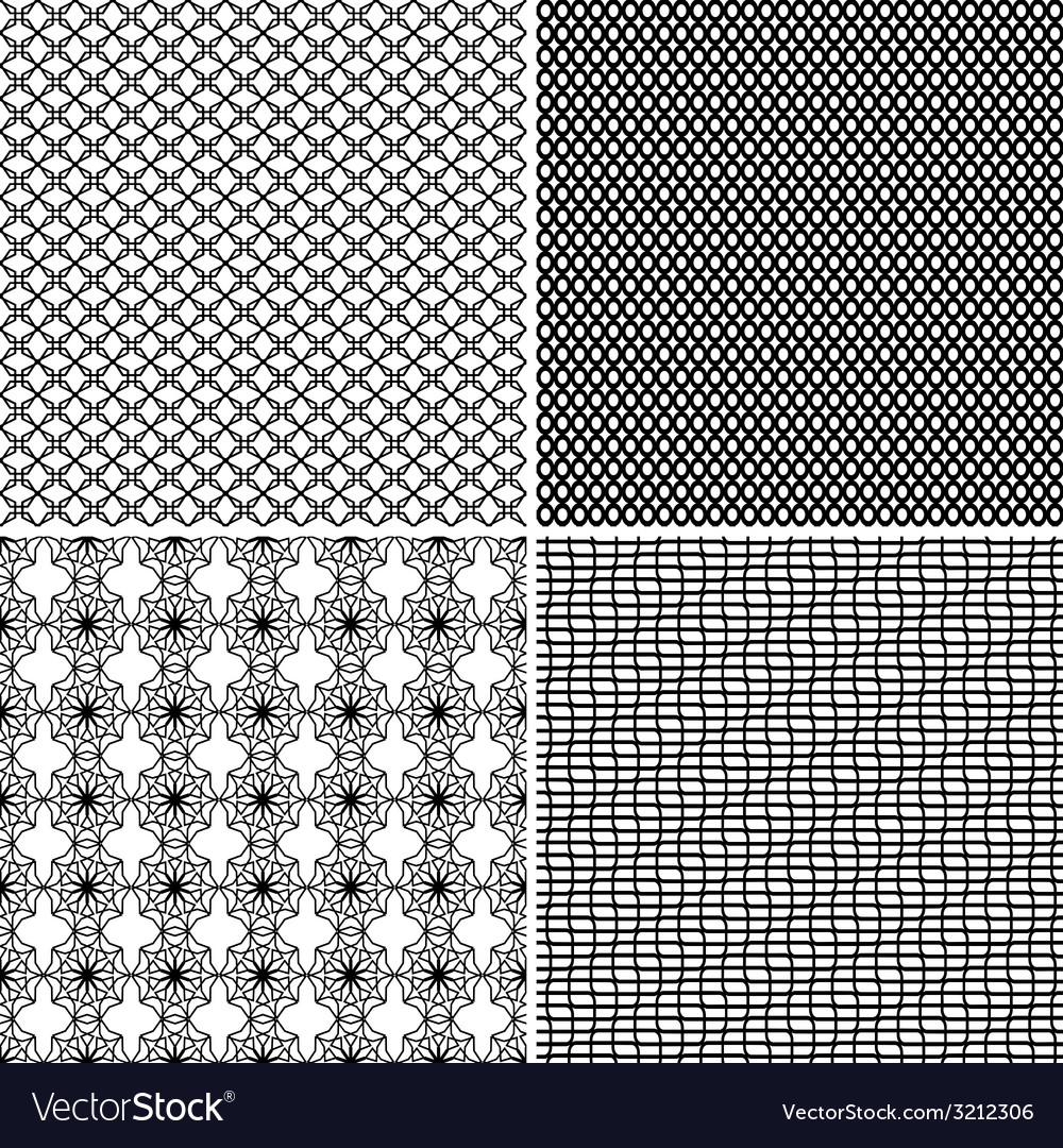 Four seamless ornamental greed patterns vector | Price: 1 Credit (USD $1)