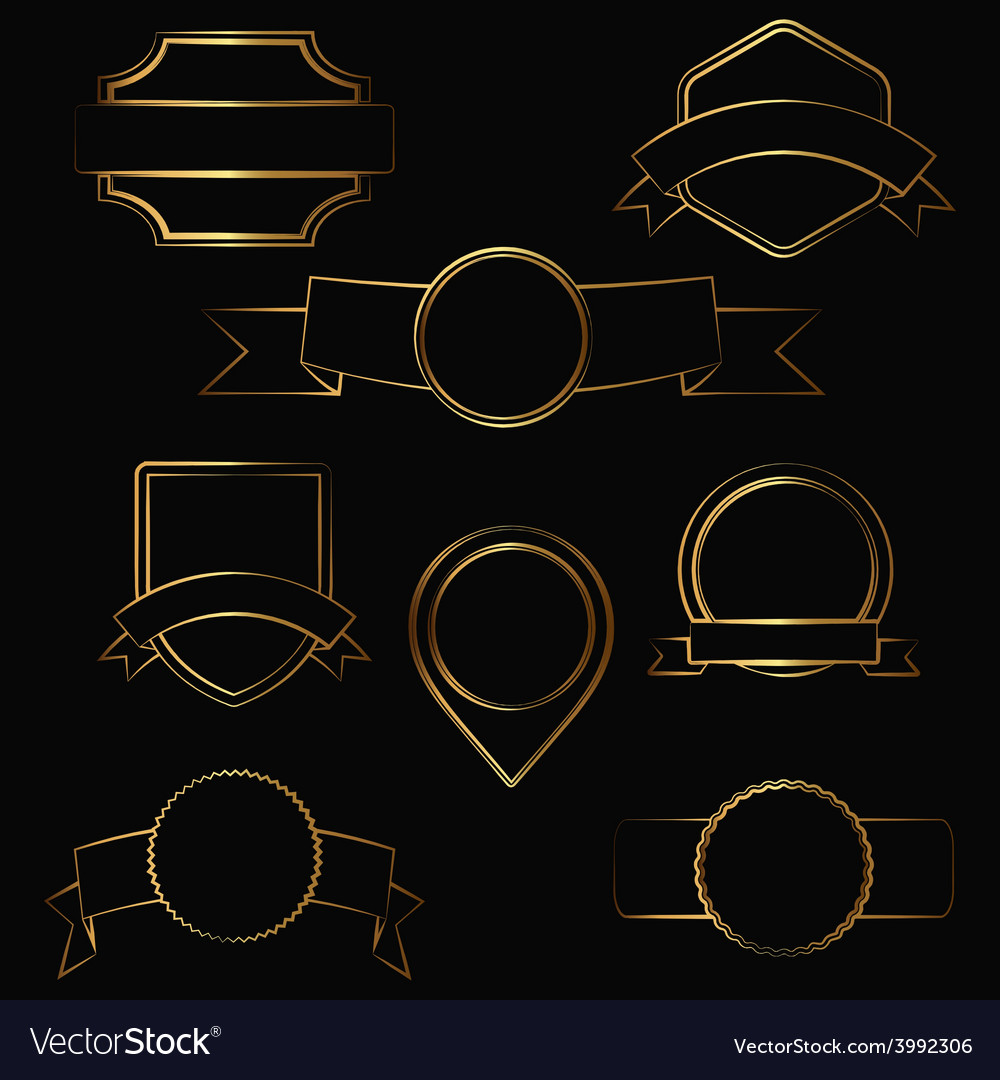 Gold contour labels vector | Price: 1 Credit (USD $1)