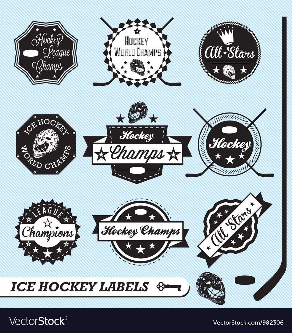 Hockey champs labels vector | Price: 1 Credit (USD $1)