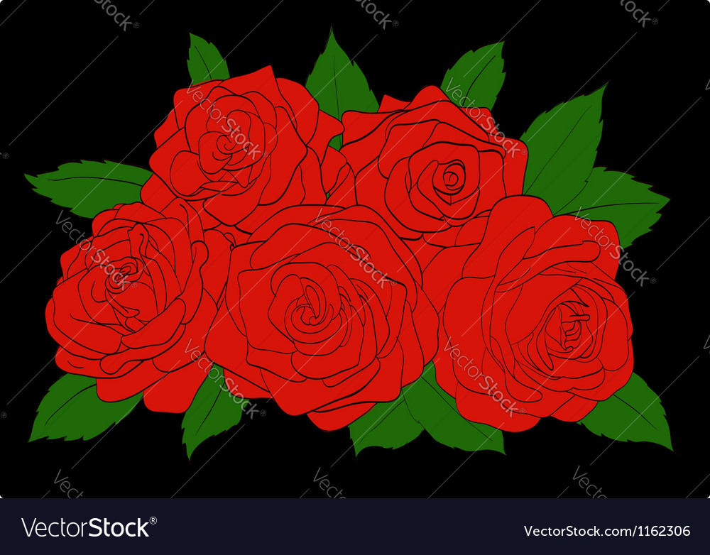 Red roses with green leaves close-up vector | Price: 1 Credit (USD $1)