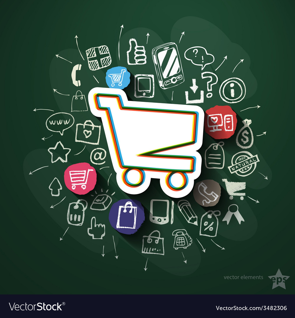 Shopping collage with icons on blackboard vector   Price: 1 Credit (USD $1)